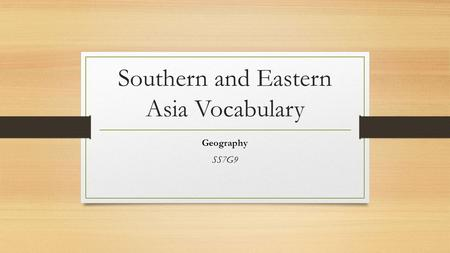 Southern and Eastern Asia Vocabulary