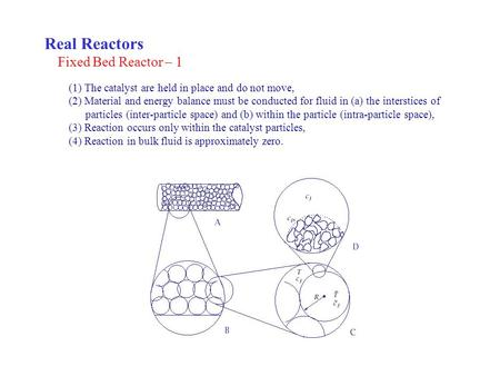 Real Reactors Fixed Bed Reactor – 1