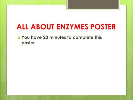 ALL ABOUT ENZYMES POSTER
