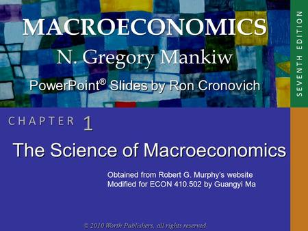 MACROECONOMICS © 2010 Worth Publishers, all rights reserved S E V E N T H E D I T I O N PowerPoint ® Slides by Ron Cronovich N. Gregory Mankiw C H A P.