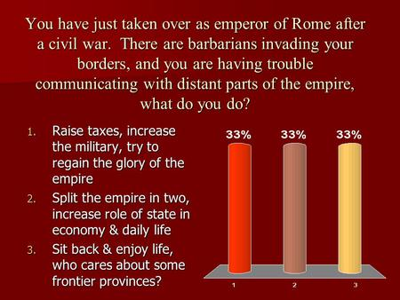 You have just taken over as emperor of Rome after a civil war. There are barbarians invading your borders, and you are having trouble communicating with.