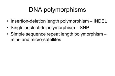 DNA polymorphisms Insertion-deletion length polymorphism – INDEL Single nucleotide polymorphism – SNP Simple sequence repeat length polymorphism – mini-