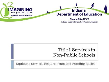 Title I Services in Non-Public Schools Equitable Services Requirements and Funding Basics.