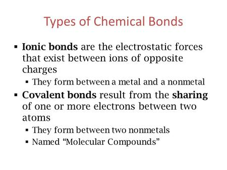 Types of Chemical Bonds  Ionic bonds are the electrostatic forces that exist between ions of opposite charges  They form between a metal and a nonmetal.