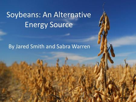 Soybeans: An Alternative Energy Source By Jared Smith and Sabra Warren.