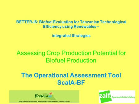 1 BETTER-iS: Biofuel Evaluation for Tanzanian Technological Efficiency using Renewables – integrated Strategies Assessing Crop Production Potential for.