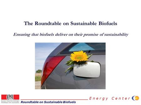 Roundtable on Sustainable Biofuels E n e r g y C e n t e r The Roundtable on Sustainable Biofuels Ensuring that biofuels deliver on their promise of sustainability.