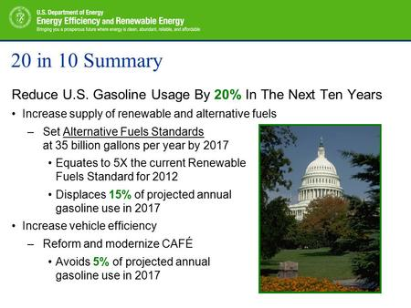20 in 10 Summary Reduce U.S. Gasoline Usage By 20% In The Next Ten Years Increase supply of renewable and alternative fuels –Set Alternative Fuels Standards.