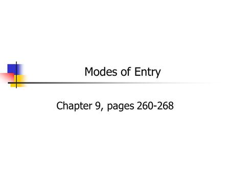 Modes of Entry Chapter 9, pages 260-268.