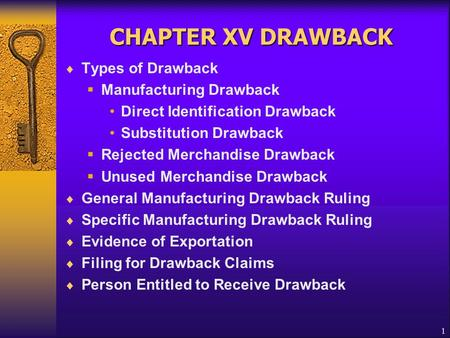 1 CHAPTER XV DRAWBACK  Types of Drawback  Manufacturing Drawback Direct Identification Drawback Substitution Drawback  Rejected Merchandise Drawback.