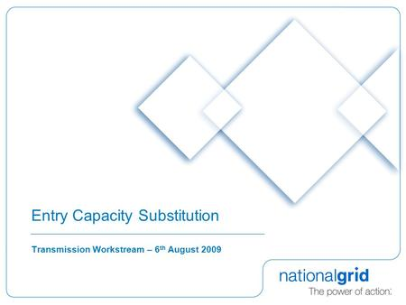 Entry Capacity Substitution Transmission Workstream – 6 th August 2009.