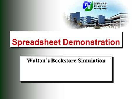 Spreadsheet Demonstration