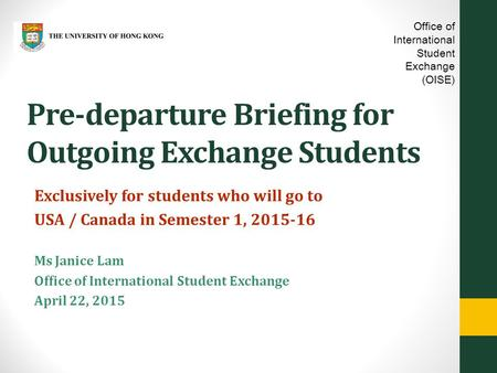 Pre-departure Briefing for Outgoing Exchange Students