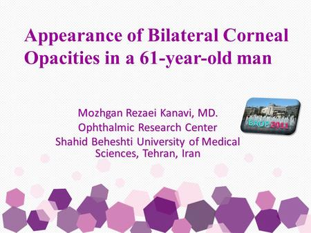 Mozhgan Rezaei Kanavi, MD. Ophthalmic Research Center Shahid Beheshti University of Medical Sciences, Tehran, Iran Appearance of Bilateral Corneal Opacities.