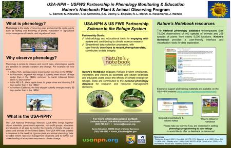 USA-NPN – USFWS Partnership in Phenology Monitoring & Education Nature's Notebook: Plant & Animal Observing Program L. Barnett, K. Kilcullen, T. M. Crimmins,