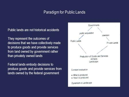 Paradigm for Public Lands Public lands are not historical accidents They represent the outcomes <strong>of</strong> decisions that we have collectively made to produce.