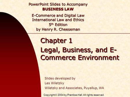 Chapter 1 Legal, Business, and E-Commerce Environment