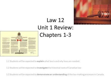 Law 12 Unit 1 Review: Chapters 1-3