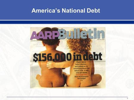 1 America's National Debt. 2 Important Concepts What's the difference between deficits and debt? Deficits: The annual imbalance between revenues and spending.