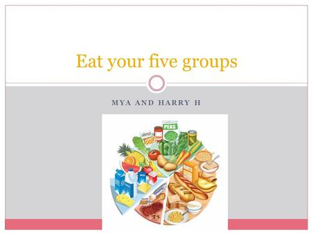 MYA AND HARRY H Eat your five groups Healthy foods Fruit and vegetables. Starchy foods, such as bread, rice, potatoes and pasta. Choose wholegrain varieties.