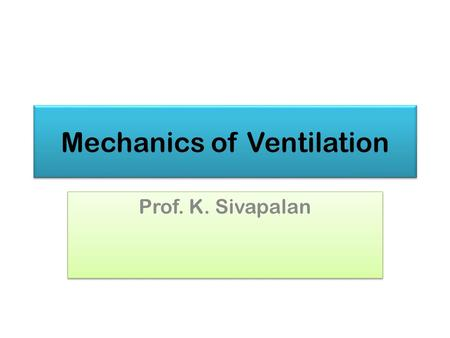 Mechanics of Ventilation Prof. K. Sivapalan. Introduction 20132Mechanics of Ventilation.
