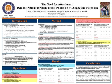 The Need for Attachment: Demonstrations through Teens' Photos on MySpace and Facebook Introduction SOCIAL NETWORKING WEBSITES: - Allow users to share information.