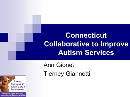 Connecticut Collaborative to Improve Autism Services Ann Gionet Tierney Giannotti.