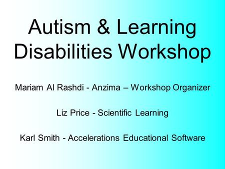 Autism & Learning Disabilities Workshop