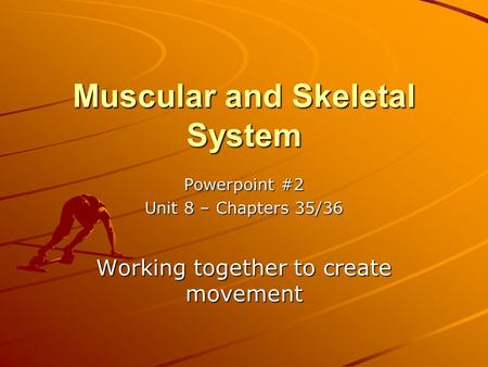 Muscular and Skeletal System Powerpoint #2 Unit 8 – Chapters 35/36 Working together to create movement.
