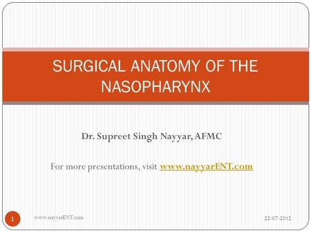 SURGICAL ANATOMY OF THE NASOPHARYNX
