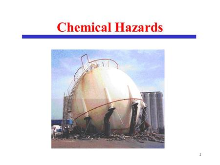 1 Chemical Hazards. 2 Purpose of Lectures on Chemical Safety To understand the hazardous properties of chemicals prior to their use. To transport / handle.