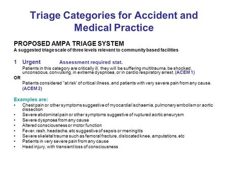 Triage Categories for Accident and Medical Practice PROPOSED AMPA TRIAGE SYSTEM A suggested triage scale of three levels relevant to community based facilities.