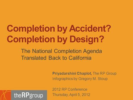Footer Subtitle Line: Usually Name of Author, Use Regular Not Boldface Priyadarshini Chaplot, The RP Group Infographics by Gregory M. Stoup 2012 RP Conference.