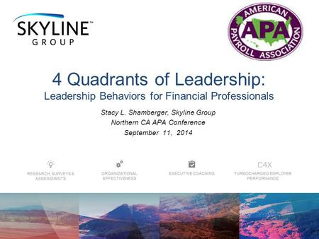 Stacy L. Shamberger, Skyline Group Northern CA APA Conference September 11, 2014 4 Quadrants of Leadership: Leadership Behaviors for Financial Professionals.