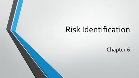 Risk Identification Chapter 6.