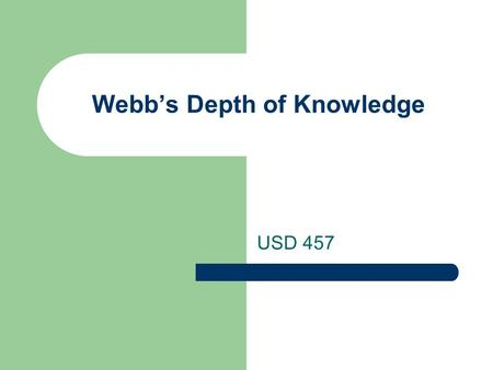 Webb's Depth of Knowledge USD 457. Objectives CO – Analyze and apply the four levels of Webb's Depth of Knowledge. LO – Read for the purpose of understanding.