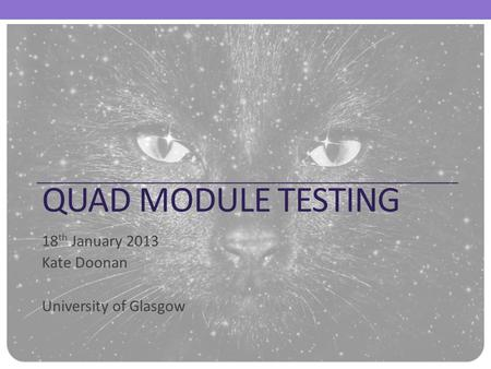 QUAD MODULE TESTING 18 th January 2013 Kate Doonan University of Glasgow.