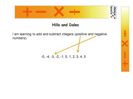 Hills and Dales I am learning to add and subtract integers (positive and negative numbers). -5, -4, -3, -2, -1, 0, 1, 2, 3, 4, 5.