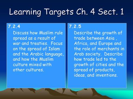 Learning Targets Ch. 4 Sect. 1 7.2.4 Discuss how Muslim rule spread as a result of war and treaties. Focus on the spread of Islam and the Arabic language,