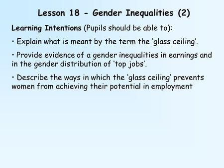 Lesson 18 - Gender Inequalities (2)