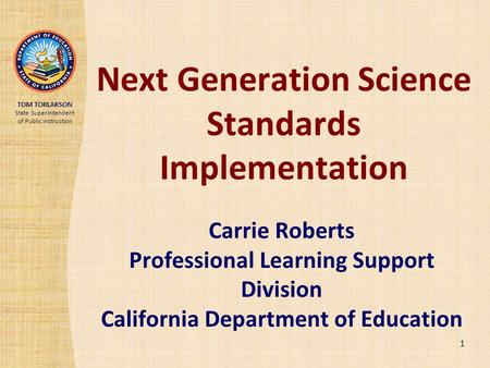 Next Generation Science Standards Implementation