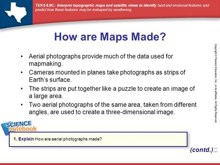 How are Maps Made? Aerial photographs provide much of the data used for mapmaking. Cameras mounted in planes take photographs as strips of Earth's surface.