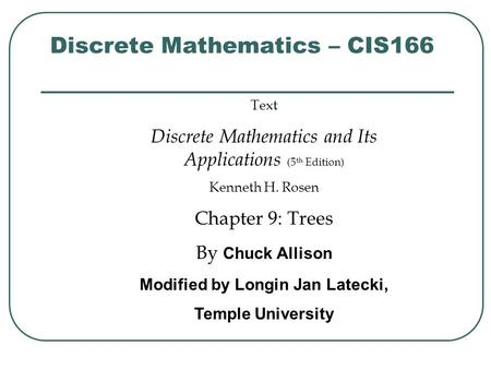 Discrete Mathematics – CIS166