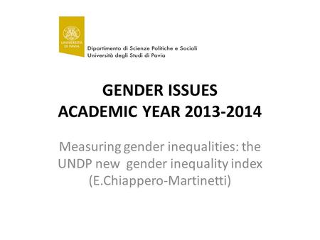 GENDER ISSUES ACADEMIC YEAR 2013-2014 Measuring gender inequalities: the UNDP new gender inequality index (E.Chiappero-Martinetti)
