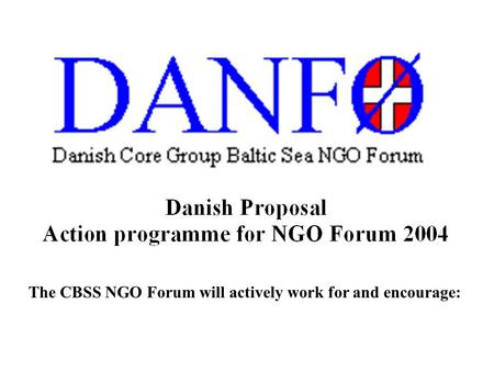 The CBSS NGO Forum will actively work for and encourage: