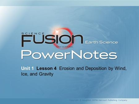 Unit 1 Lesson 4 Erosion and Deposition by Wind, Ice, and Gravity