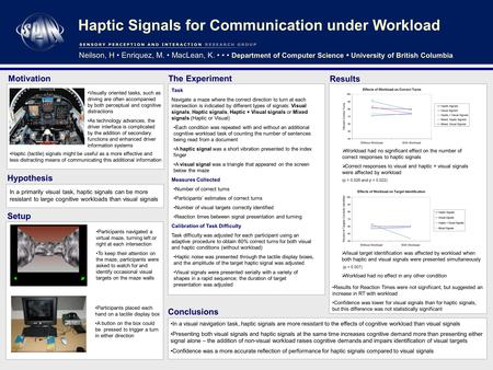 Haptic Signals for Communication under Workload In a primarily visual task, haptic signals can be more resistant to large cognitive workloads than visual.