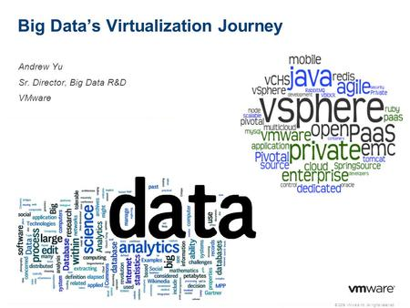 © 2009 VMware Inc. All rights reserved Big Data's Virtualization Journey Andrew Yu Sr. Director, Big Data R&D VMware.