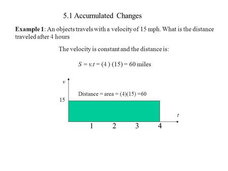 5.1 Accumulated Changes Example 1: An objects travels with a velocity of 15 mph. What is the distance traveled after 4 hours t v 15 1234 Distance = area.