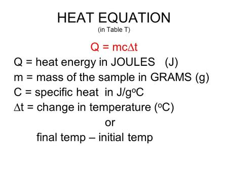HEAT EQUATION (in Table T)